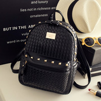 Black Studded Leather Backpack Travel Bag