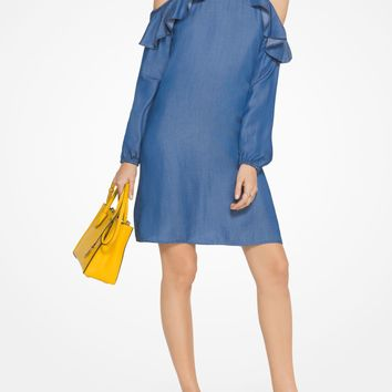 Ruffled Chambray Peekaboo Dress | Michael Kors