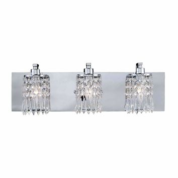 Optix 3 Light Vanity In Polished Chrome And Leaded Crystal Glass