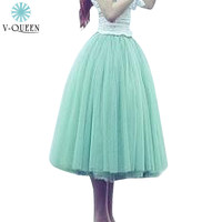 V-QUEEN 2016 Tutu Adult Skirt Female Mesh Jupe Tulle 5 Layers High Waist Knee-Length Ball Gown Pleated Midi Skirt Saias B1480001