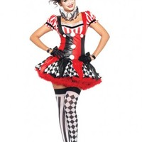 Black Red 3 PC Harlequin Clown Costume @ Amiclubwear costume Online Store,sexy costume,women's costume,christmas costumes,adult christmas costumes,santa claus costumes,fancy dress costumes,halloween costumes,halloween costume ideas,pirate costume,dance c