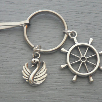 Once Upon A Time KeyChain Character Captain Hook Emma Swan Key Chain ABC Tv Show Inspired key Ring