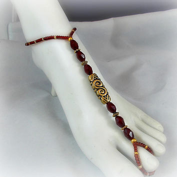 Slave Anklet Barefoot Sandal Bohemian Bling Red and Gold Beaded Anklet Bracelet One Size Fits All Beach Gypsy Jewelry Toe Ring