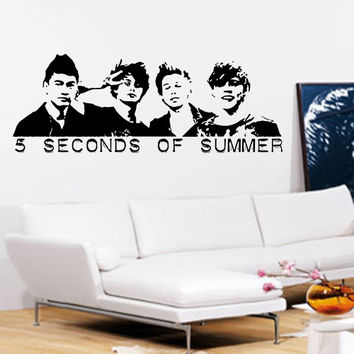 5 SECONDS OF SUMMER Wall Art - Vinyl Wall Art Sticker Decal - Five Wall Art Beddroom