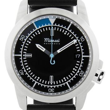 Miansai 'M1 Noir Classic' Automatic Leather Strap Watch, 39mm - Black/ Silver (Online Only)