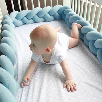 1.5M/2M/3M Baby Bumper Protector Newborn Crib Bumper Toddler Baby Bedding Bumper in the Crib Handmade Knotted Braid Pillow