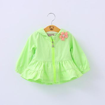 2017 New Baby Coat Cotton Polyester Chinese Style Baby Girls Full Korean Girl Windbreaker Long Sleeve Outwear Coat Ruched Jacket