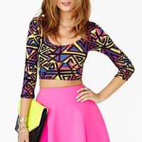 Nasty Gal Electric Sound Crop Top