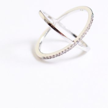 Criss Cross Diamond Ring Silver
