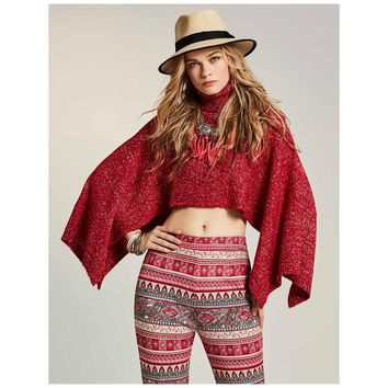 High Neck Polyblend Solid Color Ture Red Crop Top