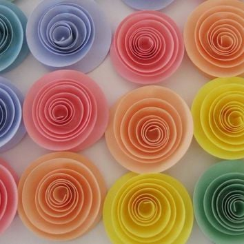 "Pastel rainbow baby shower decorations, set of 12 roses, 1.5"" paper flowers, soft colors for nursery decor, bridal shower art"