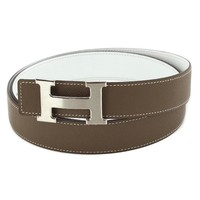 Auth HERMES Constance H Buckle Belt Epsom Etoupe White stamp X 95 90040288