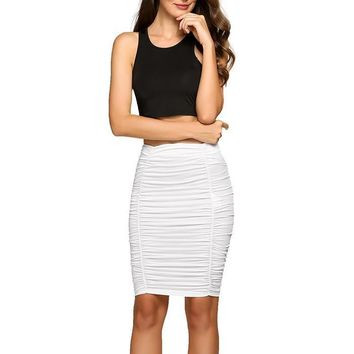 Mia Ruched High Waisted Knee Length Skirt - White