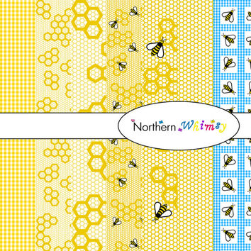 Digital Scrapbooking Paper Background Set – Beehive Pattern #1 12x12 sheets in bee , gingham , and honeycomb patterns INSTANT DOWNLOAD