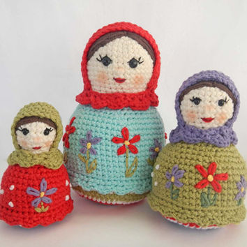 Crochet Doll Pattern for Amigurumi Matryoshka Dolls, Russian Nesting Dolls PDF Instant Download