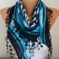 Summer Scarf Shawl - Cotton Weddings Scarves - Cowl with Lace Edge  -  fatwoman