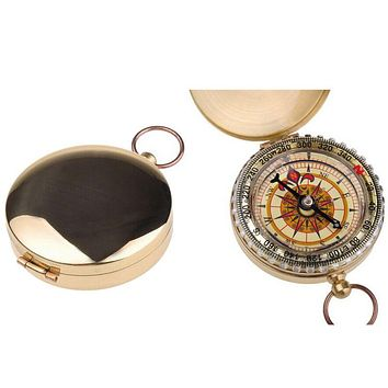 Compasses Outdoor Camping Hiking Portable Brass Pocket Golden Double Display Compass Navigation Keychain Compass-for-Tourism