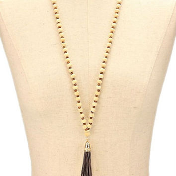 Natural & Grey Leather Tassel Drop Wood Bead Strand Long Necklace