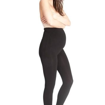 Falling Grace Over the Bump Black Leggings