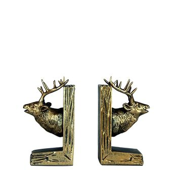 Rustic Mounted Deer Bookends