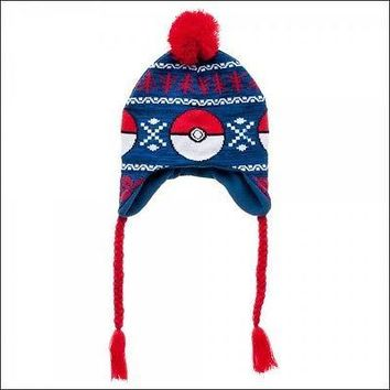 Pokemon Go Pokeball Jacquard Fair Isle Pom Beanie Cap Hat Laplander Cosplay NEW