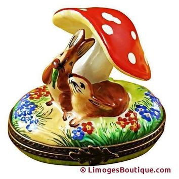 BUNNIES UNDER MUSHROOMS in GARDEN LIMOGES BOXES