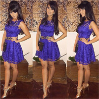 Purple Sleeveless Lace Mini Dress