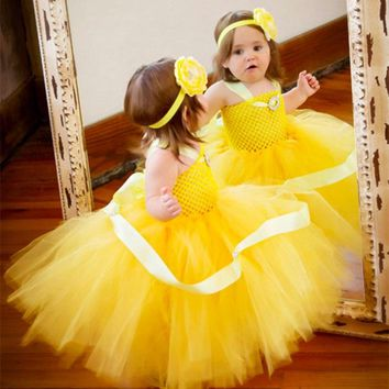 Girls Yellow Crochet Tutu Dress Baby Fluffy Tulle Strap Dress Ball Gown with Flower Headband Kids Cosplay Clothes Princess Dress