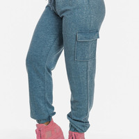 Cotton Blend High Waist Cargo Joggers (Denim Blue)