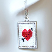 Cross Stitch Earrings Red Arrow Heart Antique by TheCandyTree125
