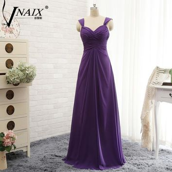 Vnaix B3031 Hot Sale Purple Bridesmaid Dresses Sweetheart With Spaghetti Straps A Line Long Chiffon Cheap Party Plus Size Gowns