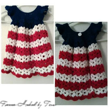 Patriotic Baby Dress Pinafore, Crochet Dress, Girl Clothing, Baby Clothes, Girl Pinafore, Toddler Dress, Fourth of July, Americana