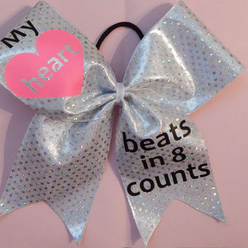 Super Cute my heart beats in 8 counts cheer bow