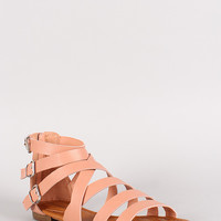 Breckelle Covina-14 Buckle Strappy Gladiator Flat Sandal