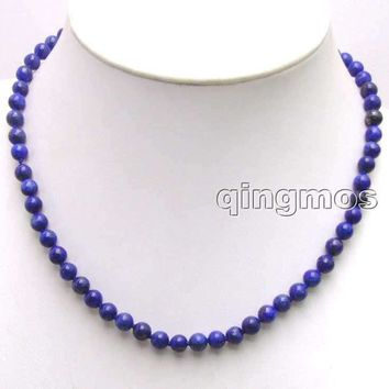 "SALE small 6mm Round Blue Natural lapis lazuli 17"" Necklace -5853 Wholesale/retail Free shipping"