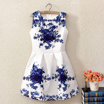 Summer Korean Print Sleeveless Vest Dress One Piece Dress [4919354500]