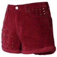 Stud Corduroy Oxblood Shorts  - New Arrivals - Retro, Indie and Unique Fashion