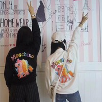 """""""Moschino"""" Cute Cartoon Rainbow Pony Embroidery Letter Long Sleeve Sweater Women Casual Pullover Tops"""