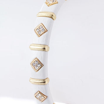 White Diamond Shaped Crystals Bracelet