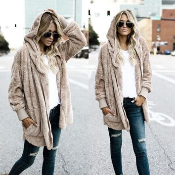 Hooded Long Coat For Women Casual Hoodies Coat Open Stitch Faux Fur High Quality