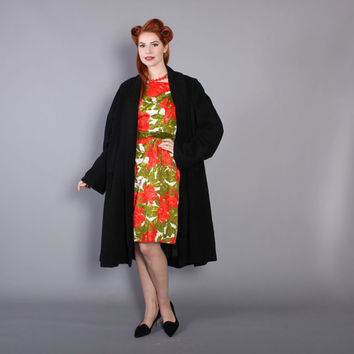 50s Black CASHMERE Swing COAT / 1950s Sweeping A Line Winter Coat, m - l