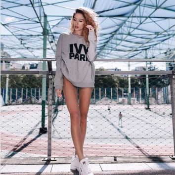 Grey Letter Print Long Sleeve Loose Sweatshirt
