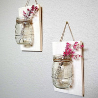 Mason Jar Wall Hanging Decor, Barnwood, Farmhouse Decor, Country Decor, Bathroom storage, Cottage Chic, Sconces, Vase