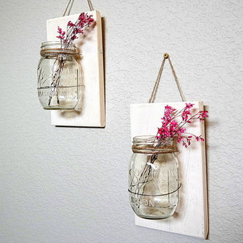 Mason Jar Wall Hanging Decor Barnwood Farmhouse Decor Country Decor