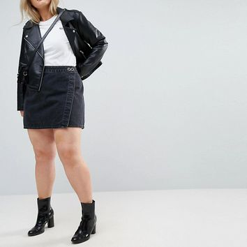 ASOS CURVE Denim Mini Wrap Skirt in Washed Black at asos.com