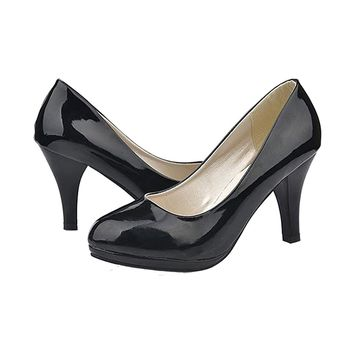 Classic Sexy office lady round Toe platform low Heels Women wedding Pumps Shoes Black US3.5