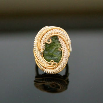 Moldavite Wire wrapped ring/ handmade one of a kind jewelry