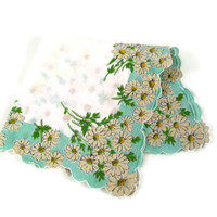 Vintage Ladies Hankie Daisies Floral 1940's White Yellow Blue