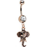 Clear Gem Rose Gold Plated Noble Elephant Dangle Belly Ring | Body Candy Body Jewelry
