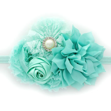 Baby Shabby Fabric Flower Cluster Headband